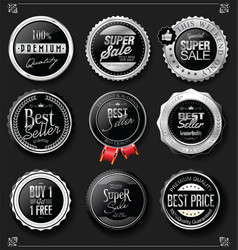 collection silver and black badges and labels vector image