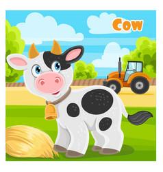 cute cartoon cow on a farm background vector image