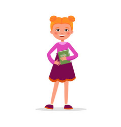cute girl with pigtails in dress with a book and vector image