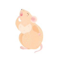 cute rat mouse is yawning wants to sleep winter vector image