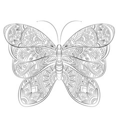 Doodle zentangle butterfly banner wish vector