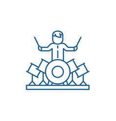 Drummer line icon concept drummer flat vector