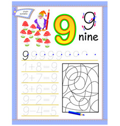 Educational page for kids with 9 solve vector