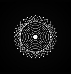 esoteric white geometry sign on black background vector image
