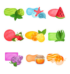 Flat set of soap with different aromas sea vector