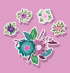 flowers nature leaves foliage decoration stickers vector image