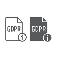 gdpr info line and glyph icon personal and vector image
