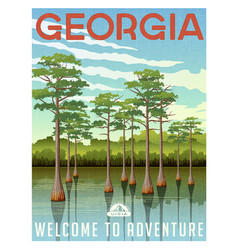 georgia travel poster or sticker vector image