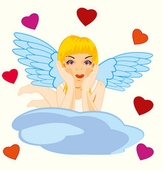 Girl angel on cloud vector