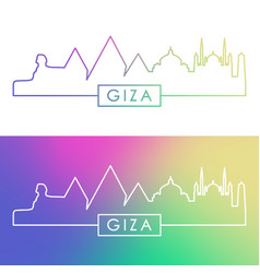 giza city skyline colorful linear style editable vector image
