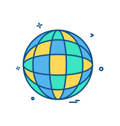 glob map icon design vector image