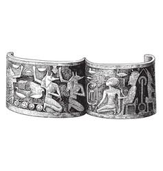 Gold bracelet xviiith dynasty vintage vector