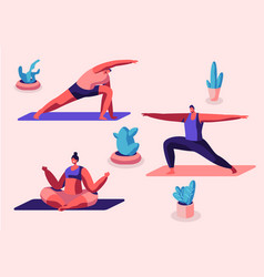Group people practicing yoga sitting on mats vector