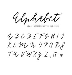 Hand drawn alphabet signature script brush vector