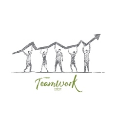 Hand drawn people teamwork concept with lettering vector image