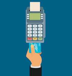 Hand pushing credit card into the pos terminal vector
