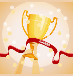 hands holding the winners cup vector image