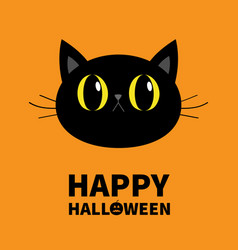 Happy halloween black cat round face head vector
