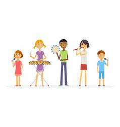 Happy schoolchildren playing music - cartoon vector