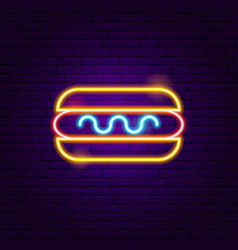 hot dog neon sign vector image