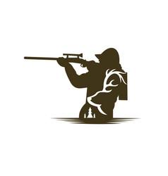 Hunter39s black silhouette shooter vector