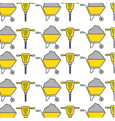 hydraulic hammer and wheelbarrow pattern vector image