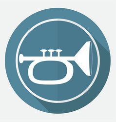 Icon trumpet on white circle with a long shadow vector