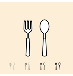 Icons of spoon and fork vector