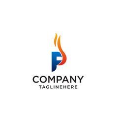 initial letter p fire logo design fire company vector image