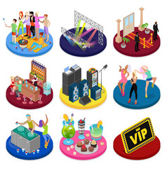 isometric party concept night club dancing vector image