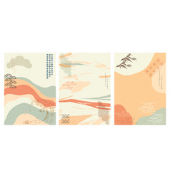japanese background and icon with abstract vector image
