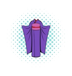 Japanese kimono icon in comics style vector