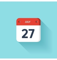 July 27 isometric calendar icon with shadow vector