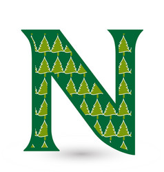 letter n christmas festive font icon vector image