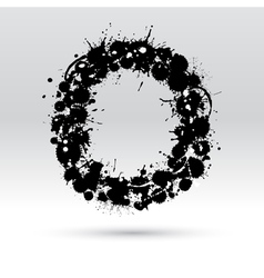 Letter O formed by inkblots vector