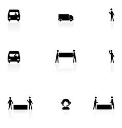 Logistics black icons vector image