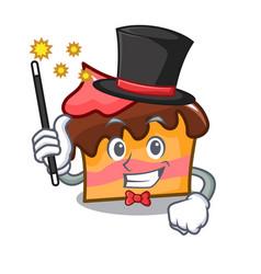 Magician sponge cake mascot cartoon vector