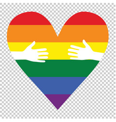 man hands patterned as the rainbow flag forming a vector image