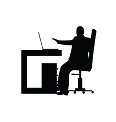 man in office silhouette vector image