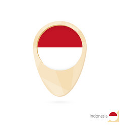 Map pointer with flag indonesia orange vector