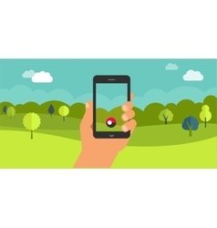 mobile phone game app hand with smartphone vector image