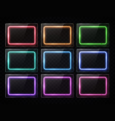 neon rectangle banners glowing square buttons set vector image