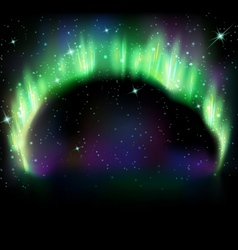 Northern light on black vector image