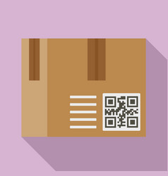 Parcel qr code icon flat style vector