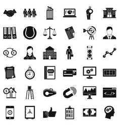 Partnership relation icons set simple style vector