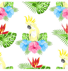 pattern with flowers and parrot vector image