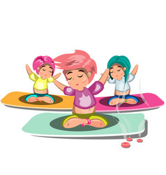 People doing yoga and meditation poster vector