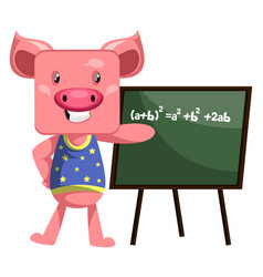 pig with blackboard on white background vector image