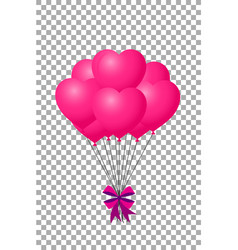 pink balloons with ribbon flying for party and vector image