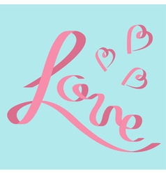 Pink satin ribbon in shape of word Love Three vector image